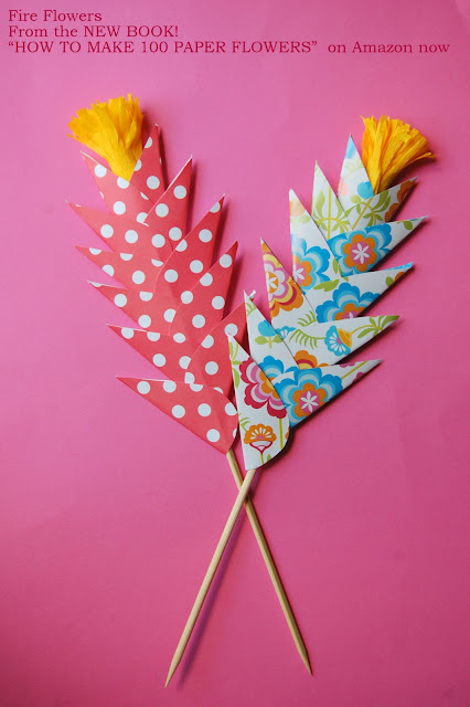 Fire Flowers easy paper flowers tutorials kids