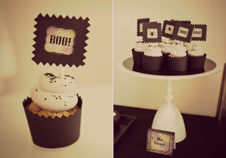 printables halloween sur cupcakes vanille