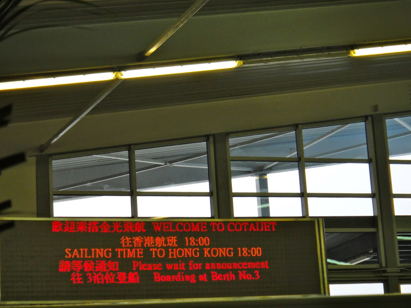 Ferry Departure Sign Board From Macau to Hong Kong