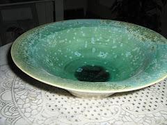 Stengodsfat kristallglasyr 26 cm diam