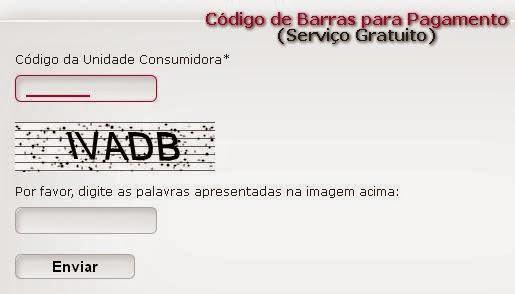 Página do código de barras para pagamento da conta de luz CERON