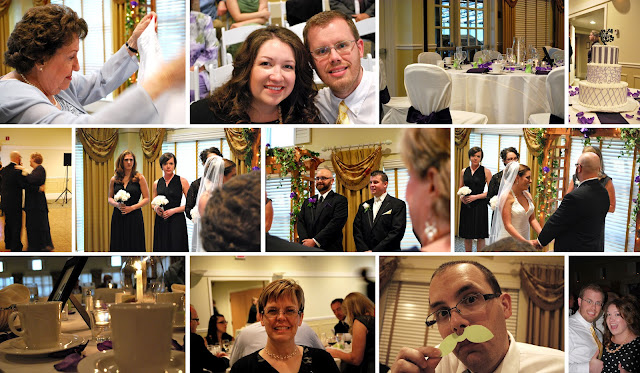 Twelve photos from the wedding depicting the venue, Nana, Megan and B, the bridesmaids, the groomsmen, the bride and groom, Mom, Shane with a paper mustache, and B and Megan dancing.