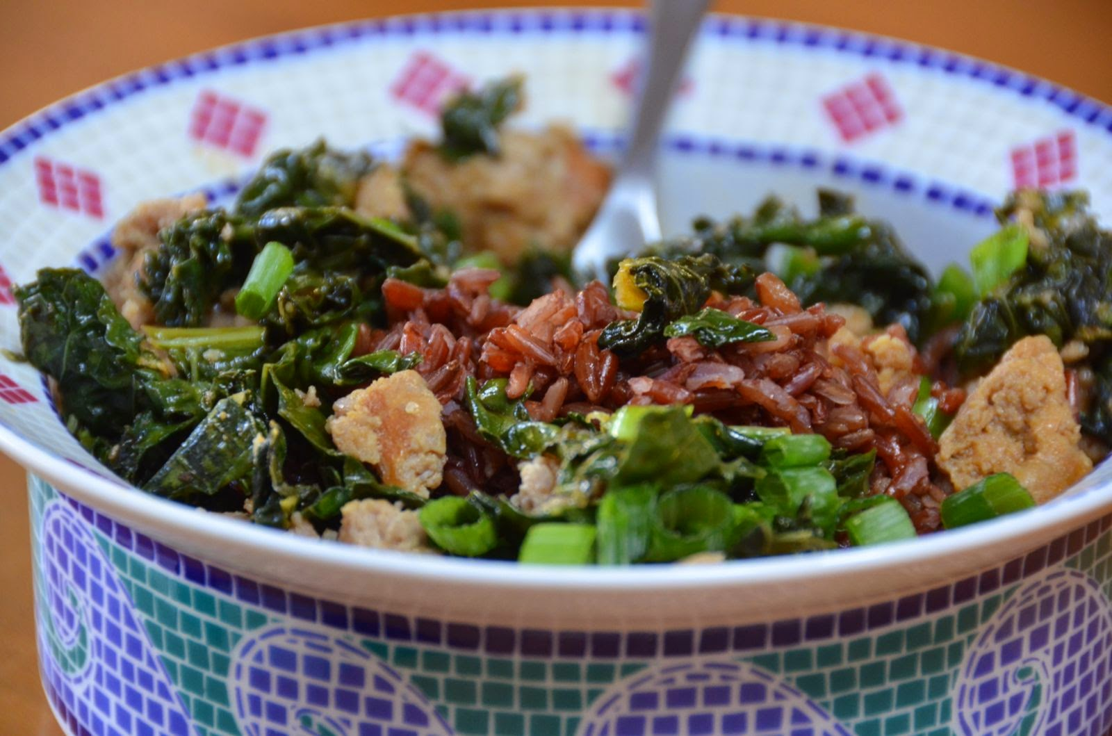 Sausage and Kale with Brown Rice | Cheesy Pennies