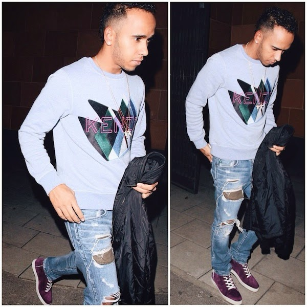 Lewis Hamilton wears Kenzo Fall Winter 2014 Twin Peaks-embroidered sweatshirt and purple Christian Louboutin Rantus suede sneakers October 2014