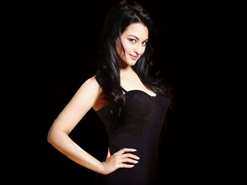Bollywood Indian Actress Sonakshi Sinha Hot in Black HD Wallpaper