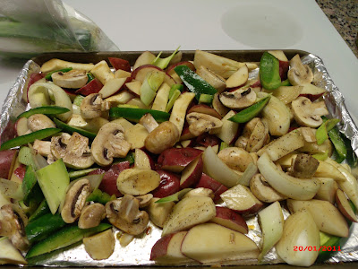 Chopped bell peppers, onions and mushrooms