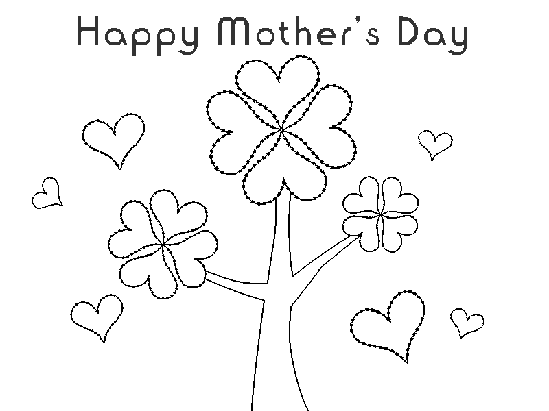 Happy Mother´s Day Coloring Page title=