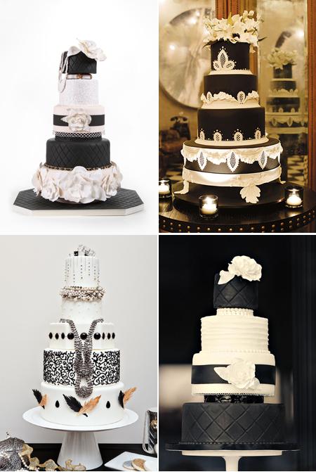 Wedding inspiration Black and White wedding cakes
