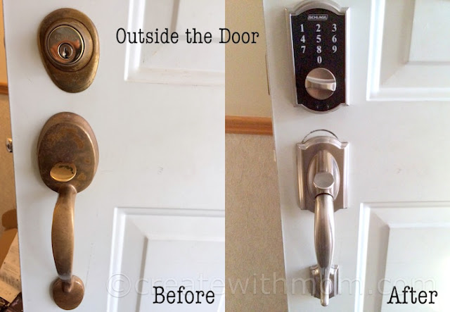Schlage keyless deadbolt before and after