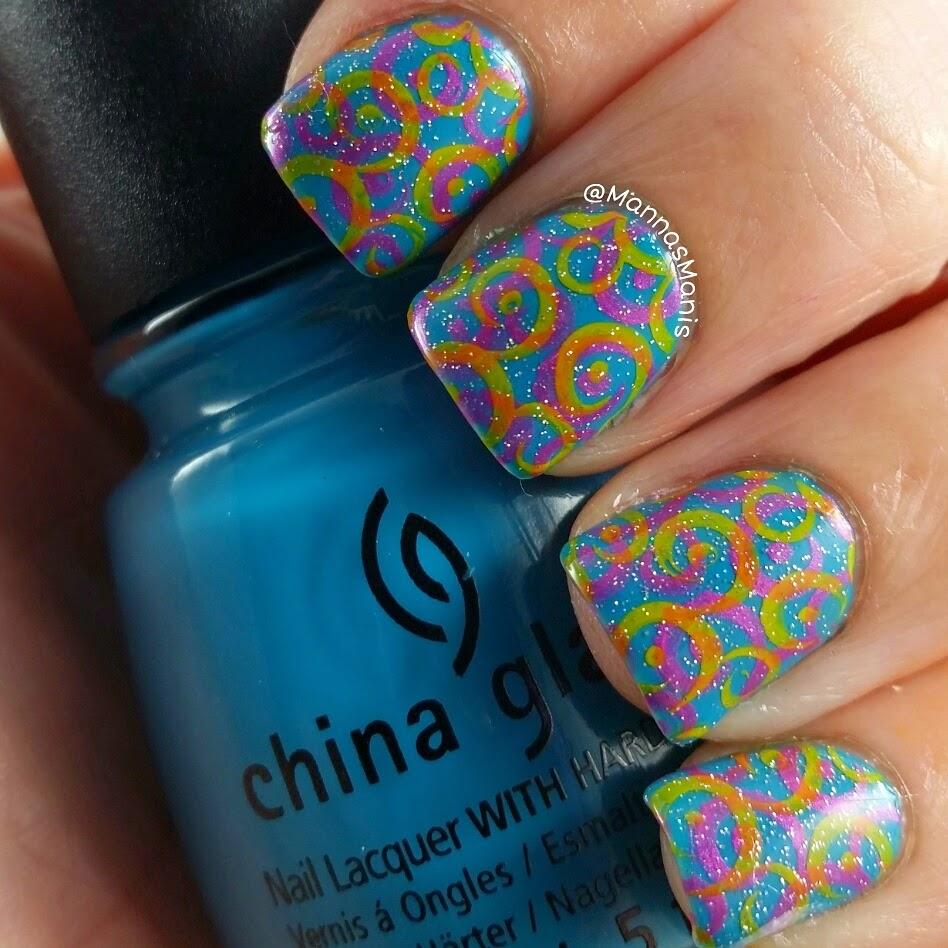 swirly nail stamping