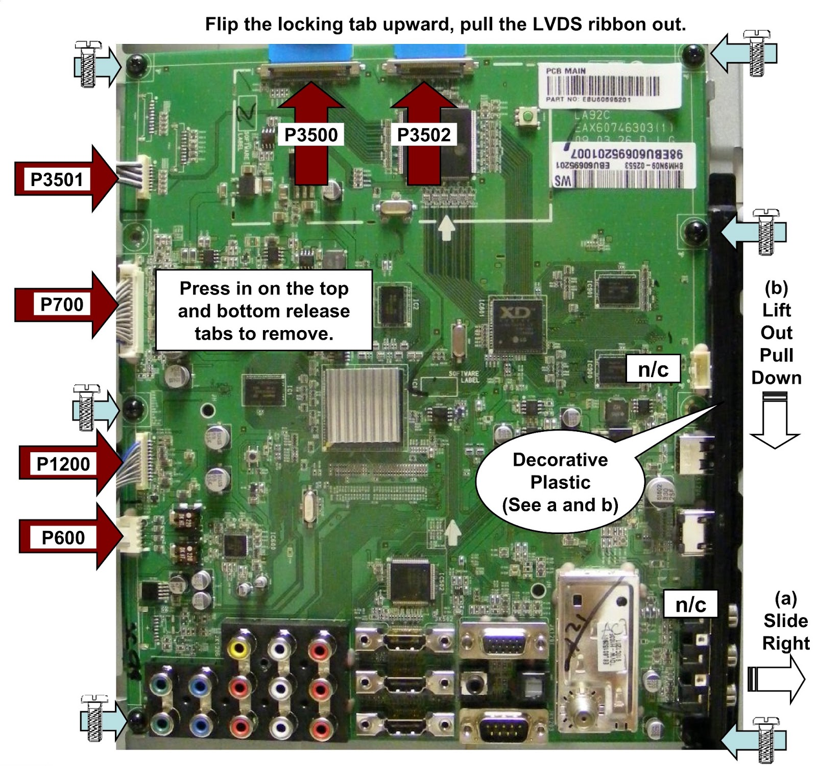 lg 42lh90 led lcd tv how to remove the main board and. Black Bedroom Furniture Sets. Home Design Ideas