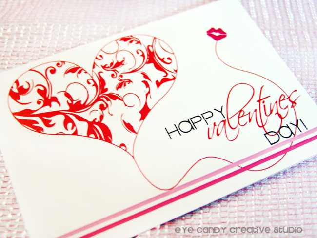 happy valentines day postcard, send valentine postcards, damask