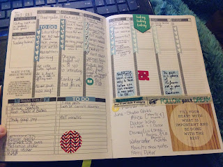 Vertical layout of a daily planner with inspirational stickers and checklists