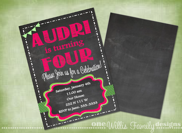 Girl Chalkboard Birthday printable invite