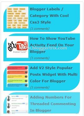 Stylish Animated Blogger Recent Posts Widget