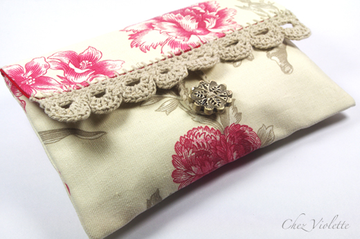 French toile bag clutch purse by Chez Violette