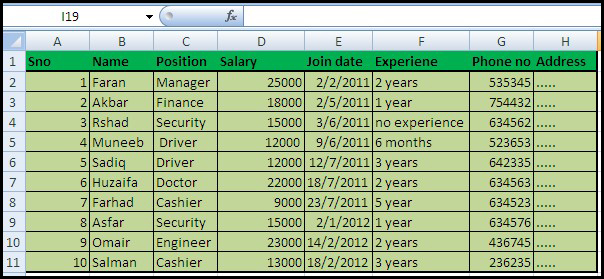 excel template employee information - employee data sheet create a data sheet