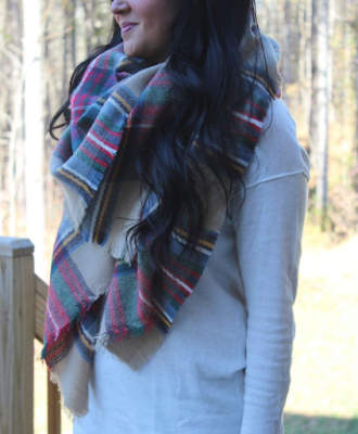plaid blanket scarf, molly suzanne