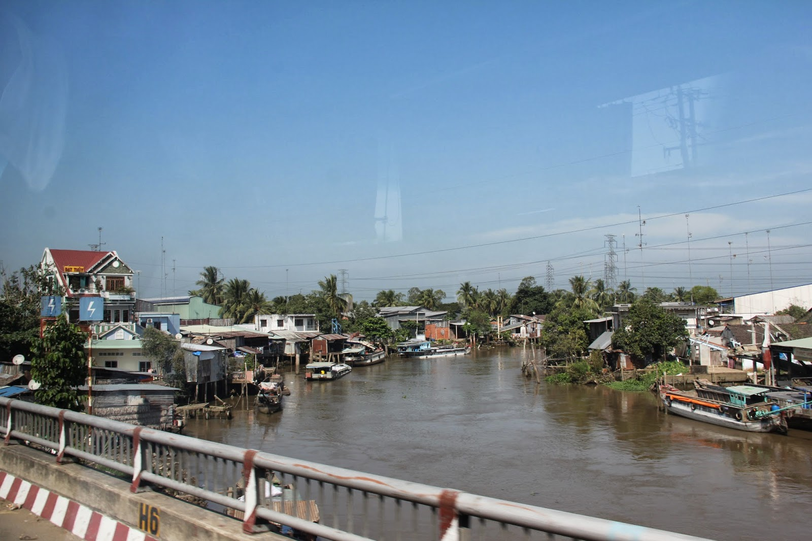 View from a bridge over one of the branches of the Mekong River.