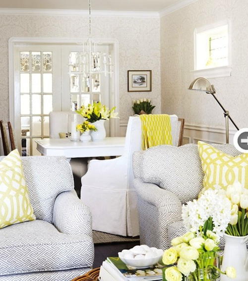 At home yellow hamptons style for Grey yellow dining room ideas