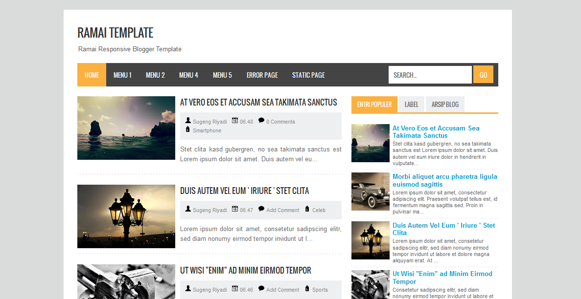Free Download Ramai Template Blogger, News,Personal Blog