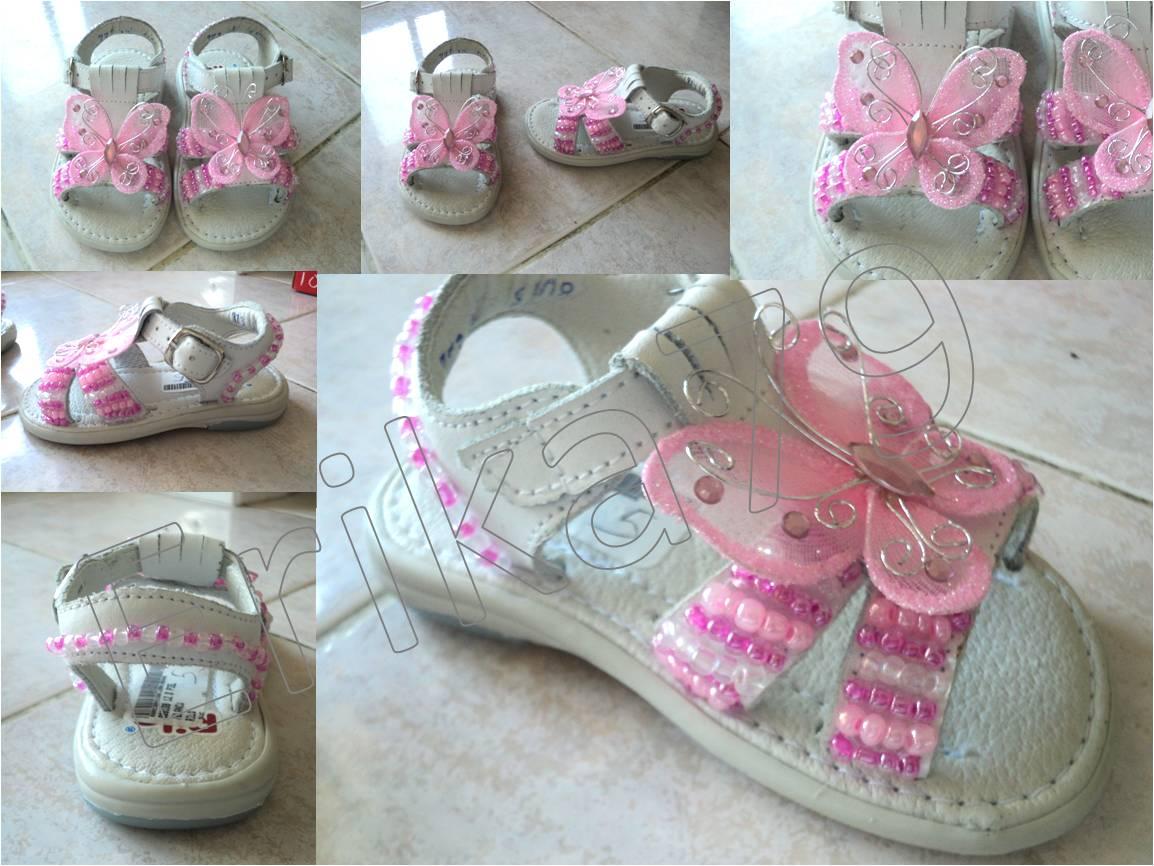 Kikita-Manualidades: Sandalias decoradas para bebé