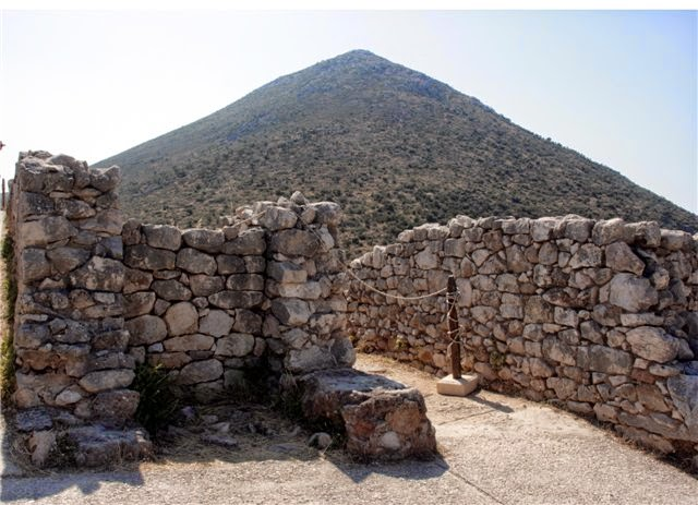 Mycenaean pyramid mountain Zara, view from acropolis stone wall