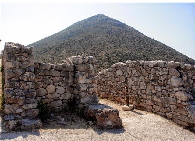 Mycenaean pyramid mountain Zara, view from acropolis stone wall