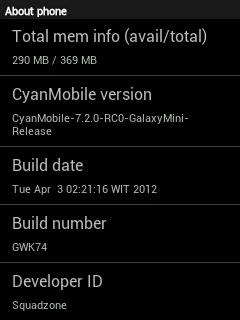 CyanMobile 7.2.0 RC0 For Galaxy Mini GT-S5570