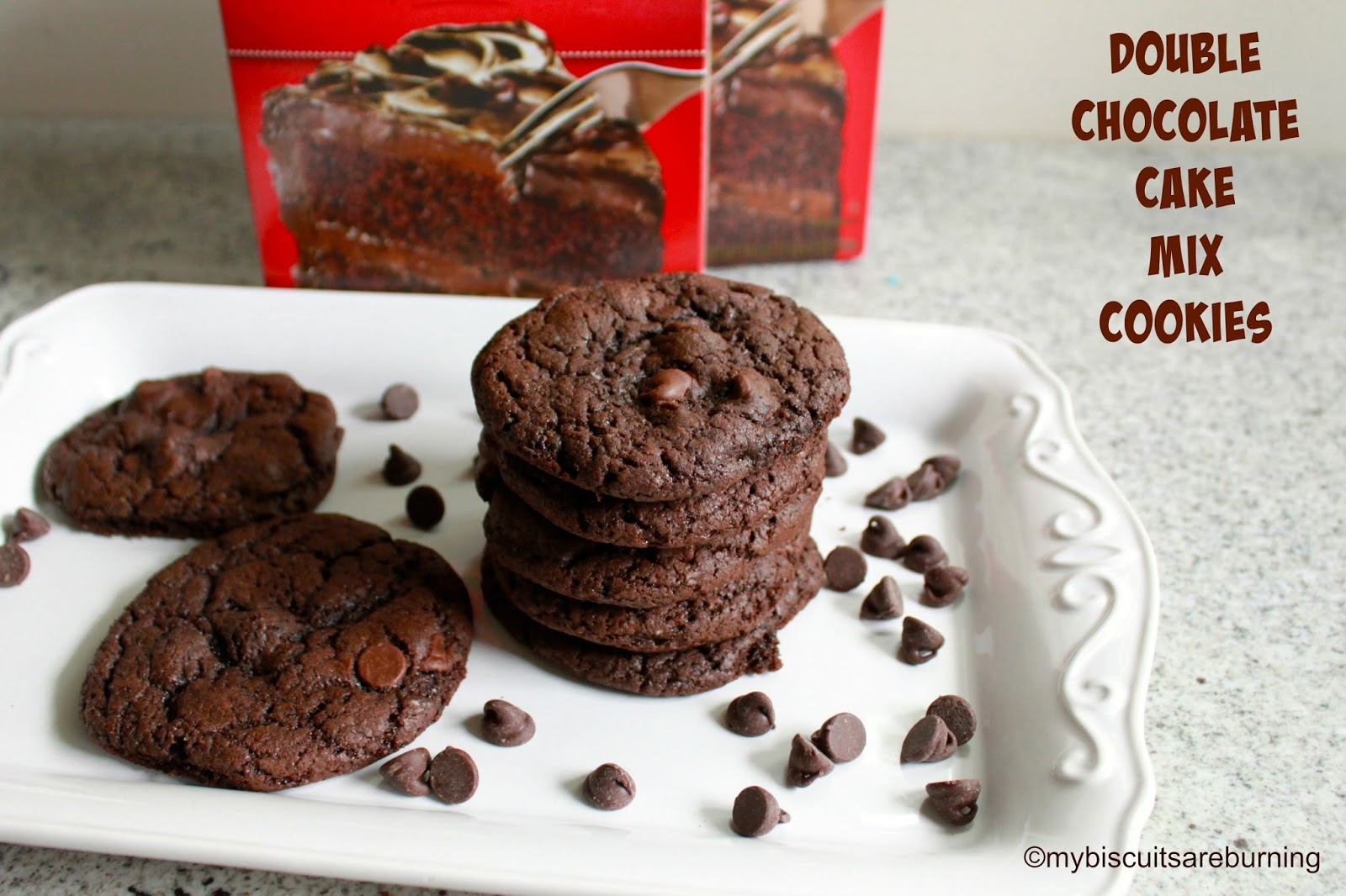 Double Chocolate Cake Mix Cookies | My Biscuits are Burning