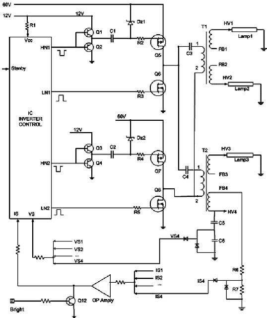 Hình 5 - Sơ đồ nguyên lý mạch cao áp Tivi LCD