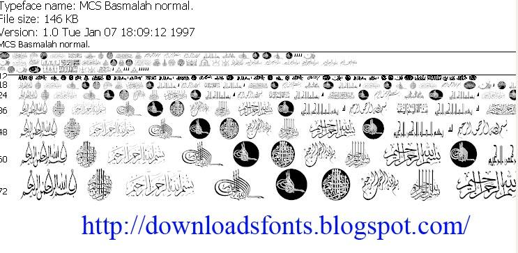 Font Arab MCS Basmalah Normal