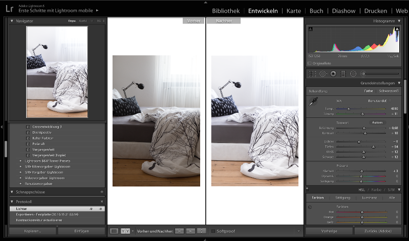 Lightroom before and after editing