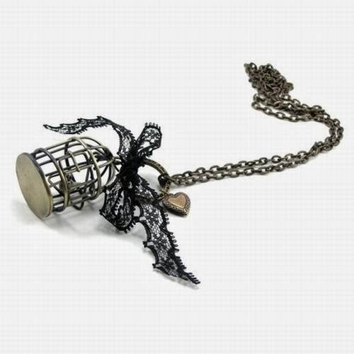 Miniature bird cage necklace fancy