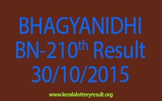 BHAGYANIDHI BN 210 Lottery Result 30-10-2015