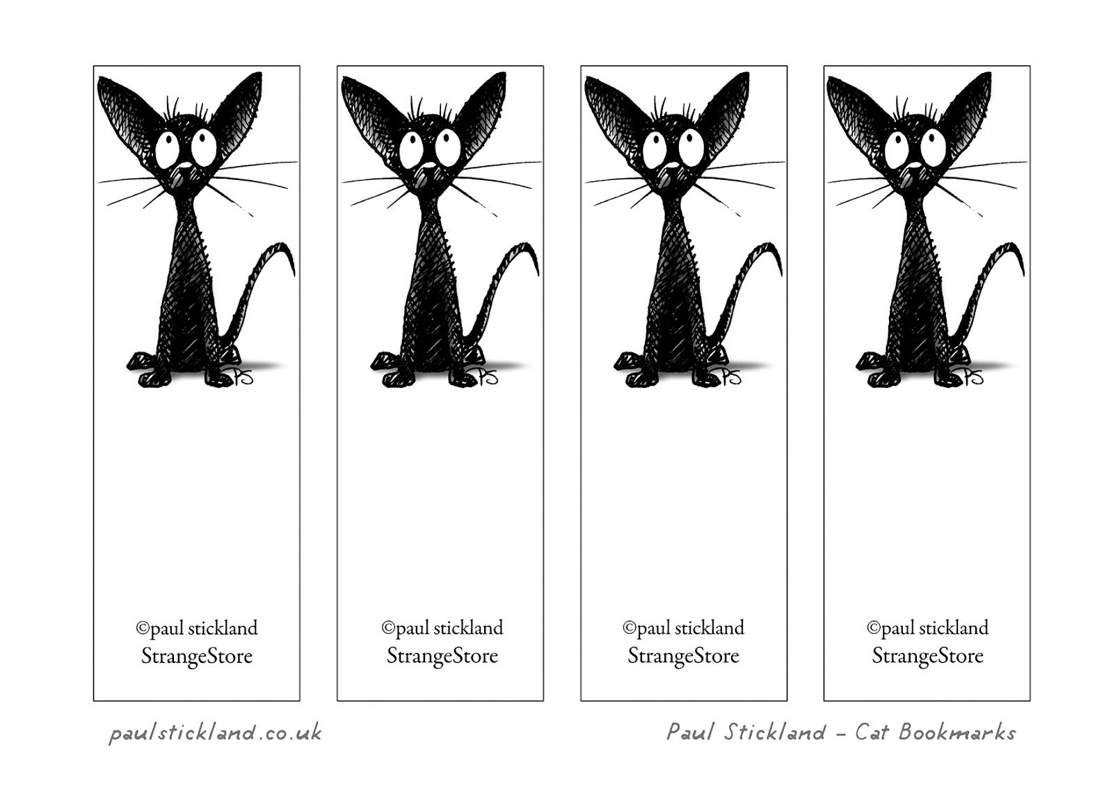 paul stickland blog: free black cat bookmarks!