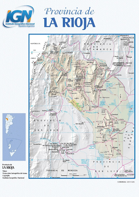Mapa da província de La Rioja - Argentina