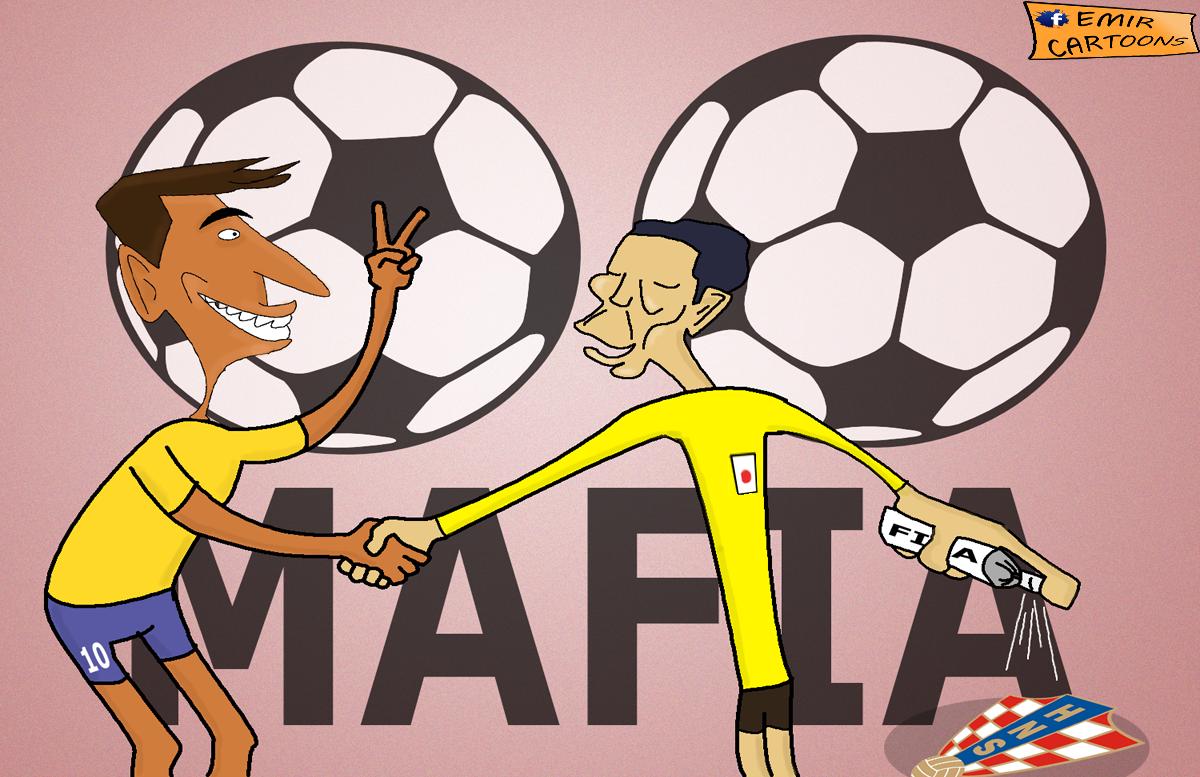 Brazil 3 -  1 Hrvatska,sudija, penal,emir cartoons,fudbal karikature,karikatura dana,