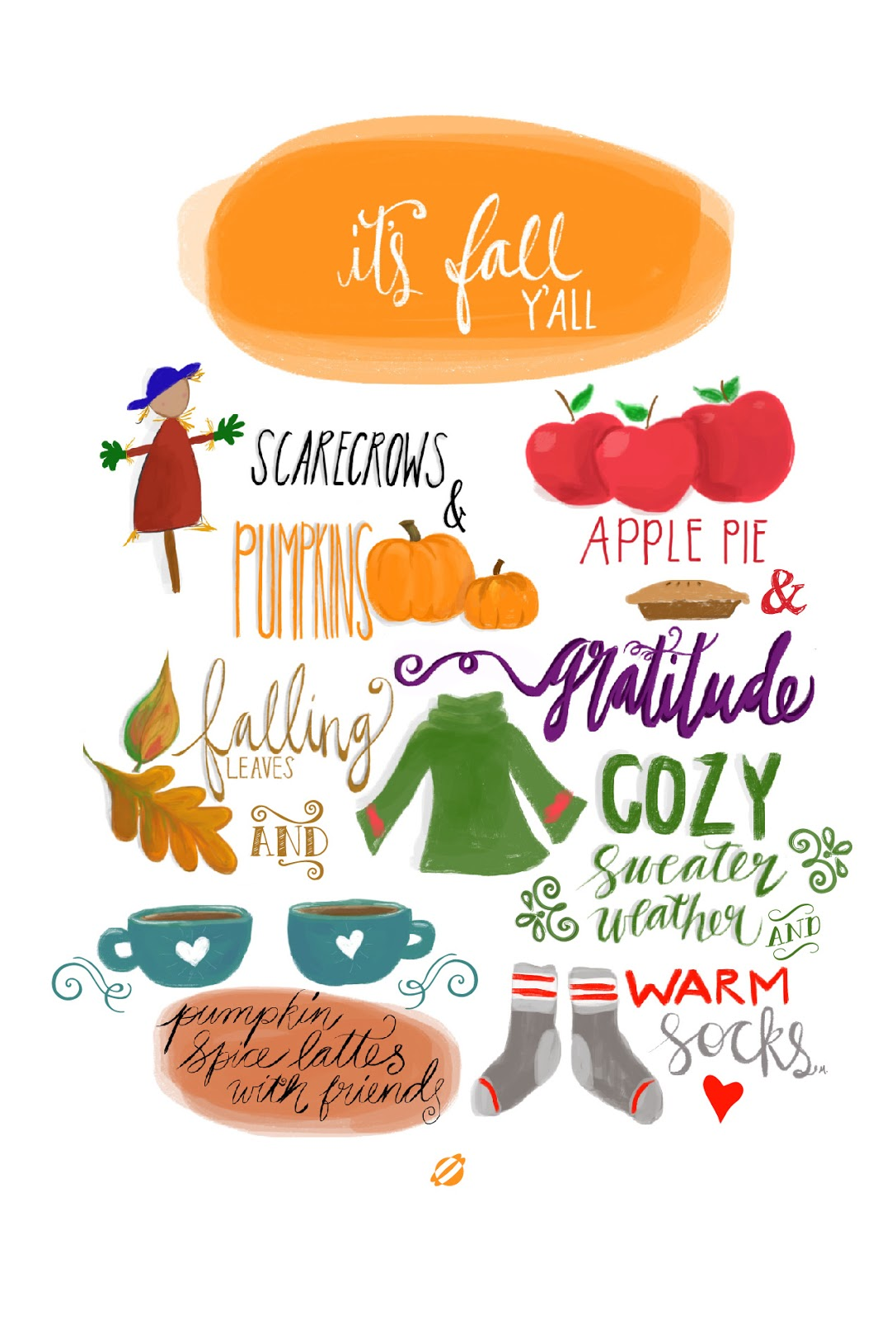 LostBumblebee ©2014- MDBN-  It's Fall Y'all Free Printable - Handlettered- Personal Use Only.