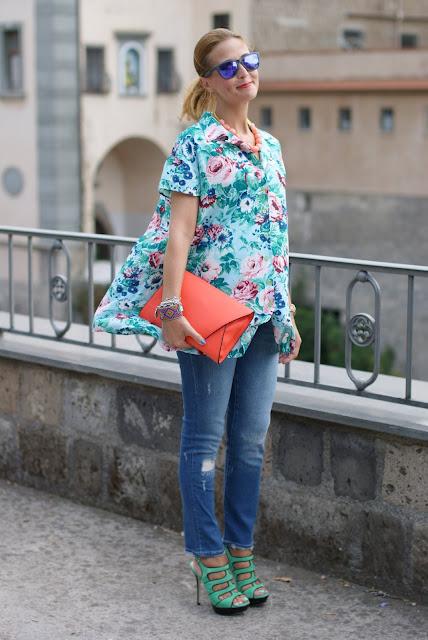 Kenzo floral print, Kenzo shirt, Zara orange clutch, Fashion and Cookies, fashion blog