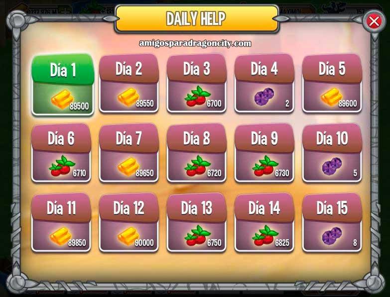 imagen de la ayuda diaria de dragon city