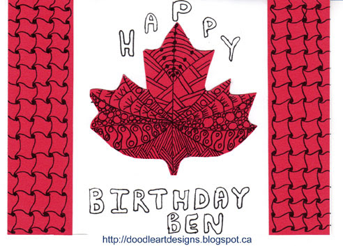 Doodle Art Designs Zentangle Inspired Canada Day Birthday Card – Birthday Cards Canada