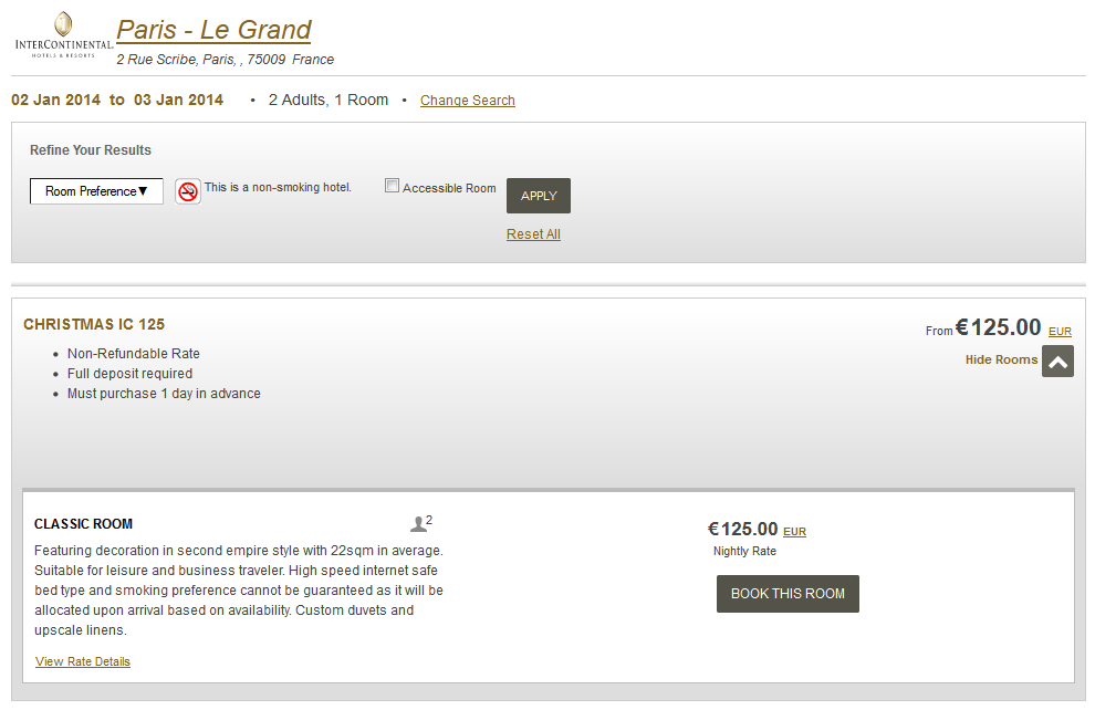InterContinental Paris Le Grand za 125 EUR zamiast 304 EUR