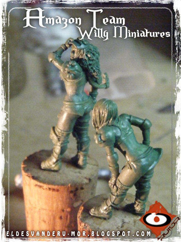 Foto de varias miniaturas del Equipo Blood Bowl de Amazonas de WILLY Miniatures hechas por ªRU-MOR. Blitzer and linewoman,Fantasy football