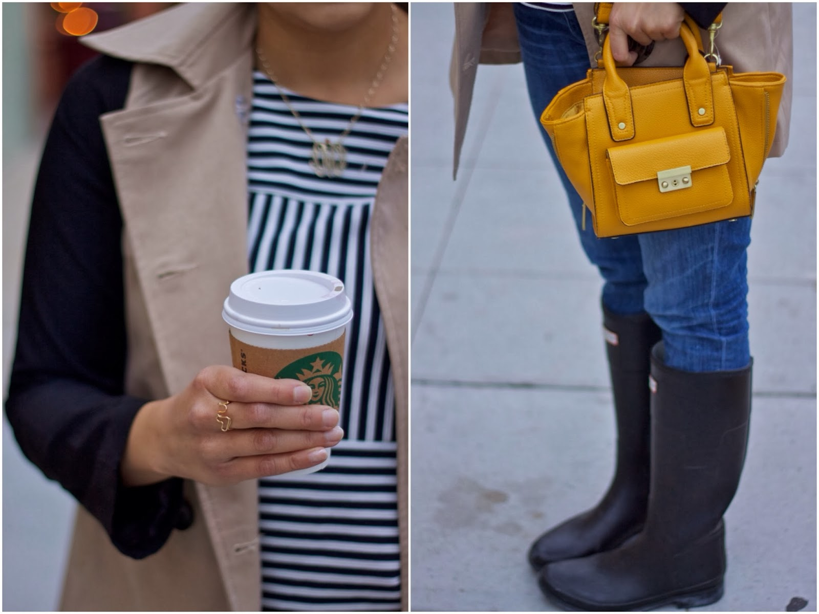 Rainy Day Coffee Date outfit details, 3.1 phillip lim for Target purse in yellow styled
