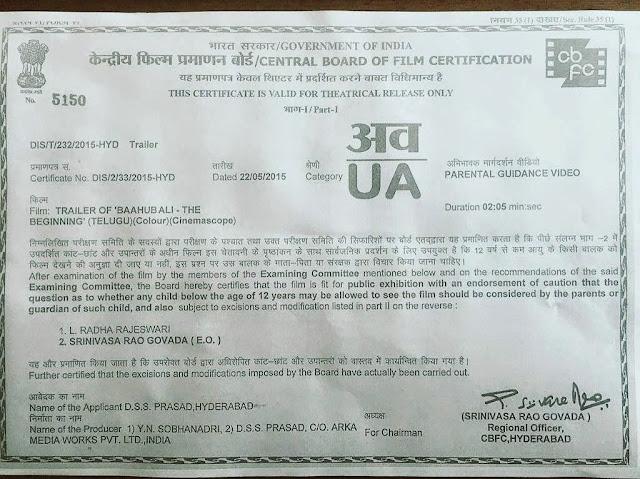 Baahubali Trailer Censor Certificate | Rajamouli | Prabhas | Rana Anushka