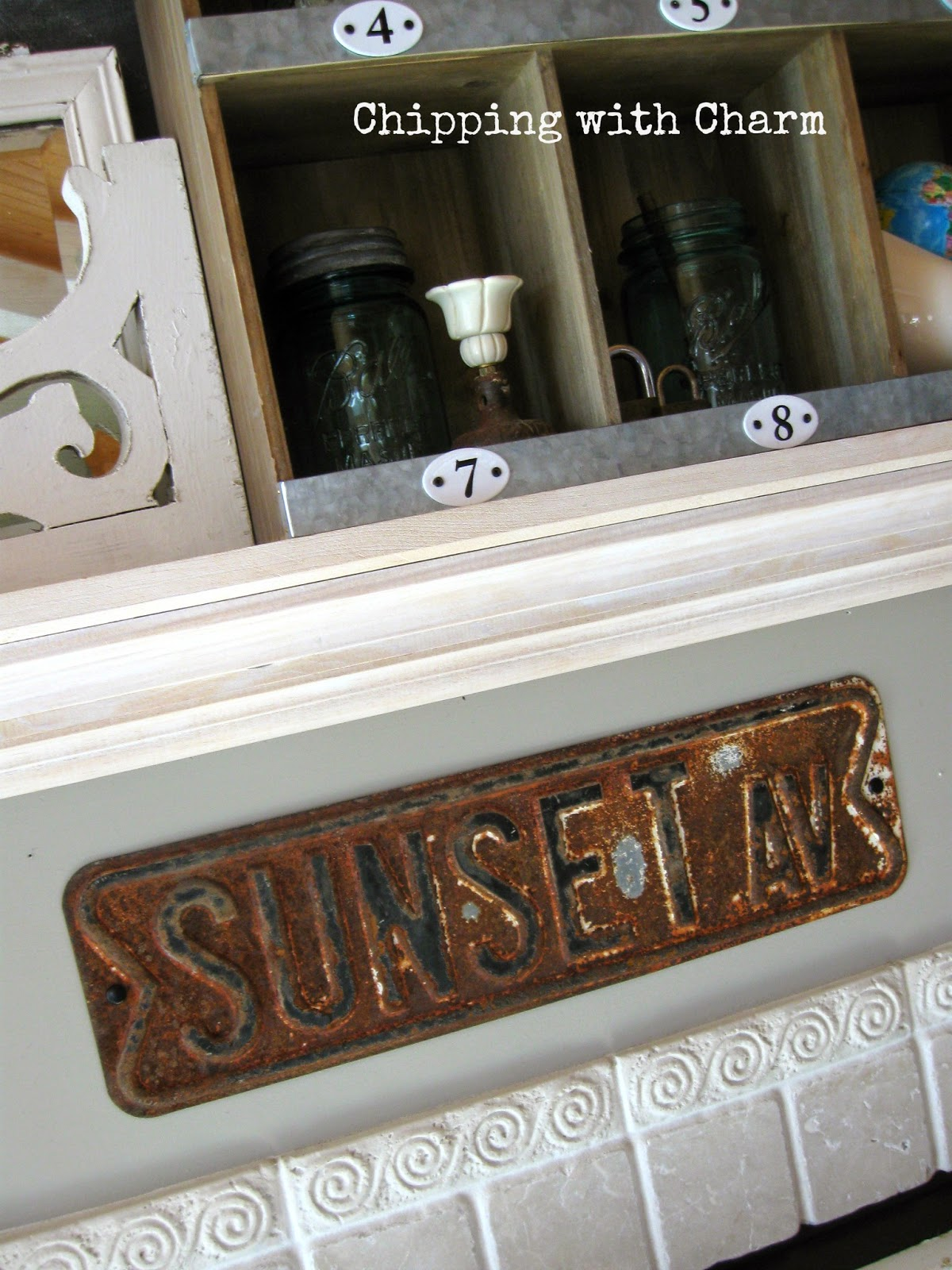 Chipping with Charm:  Spring Mantel, rusty street sign...www.chippingwithcharm.blogspot.com
