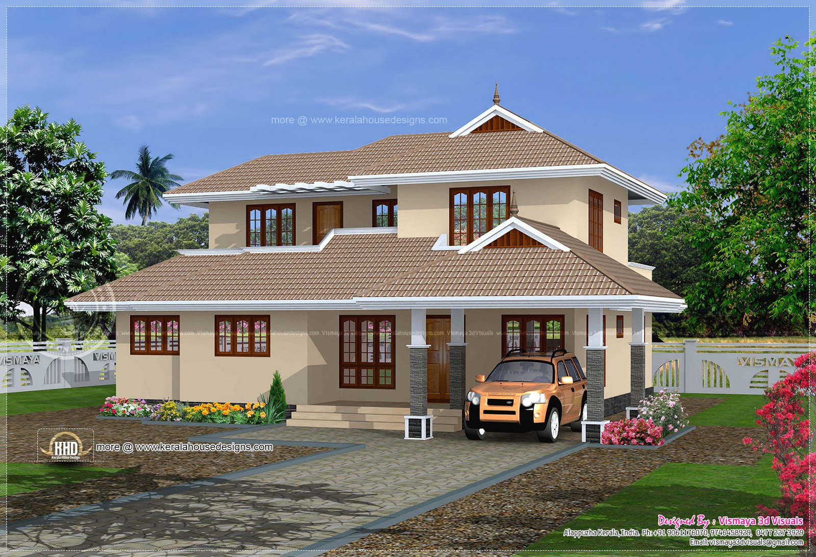 1819 simple kerala home plan kerala home design for Simple kerala home designs