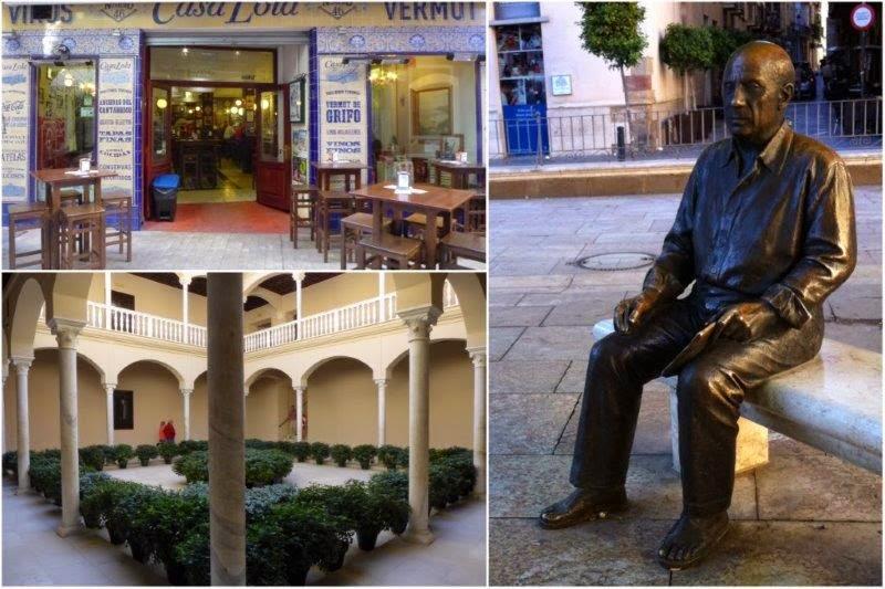 Bar restaurante típico en Malaga, Estatua de Picasso en la Plaza de la Merced frente al Museo Casa Natal, Patio del Museo Picasso Malaga