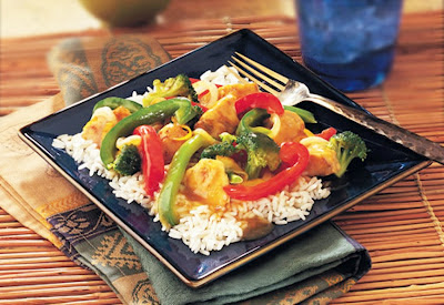 Picture of a plate of Orange Chicken & Vegetable Stir-Fry and fork.